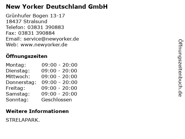 New Yorker Deutschland GmbH in Stralsund: Adresse und Öffnungszeiten