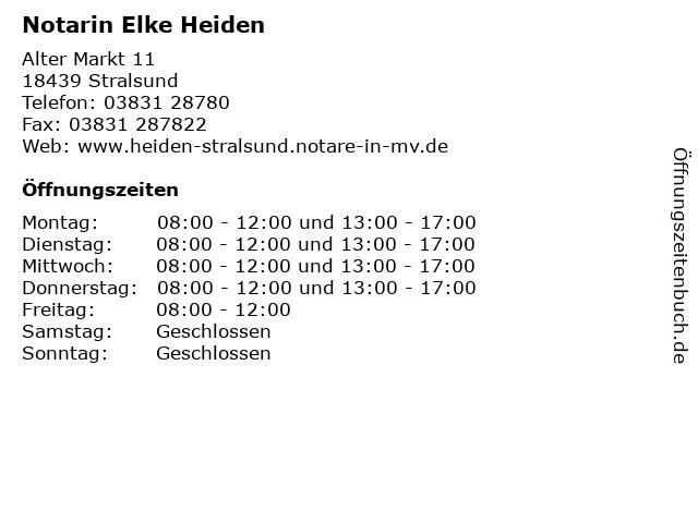 Notarin Elke Heiden in Stralsund: Adresse und Öffnungszeiten