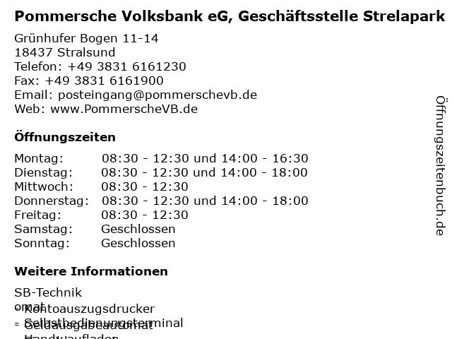 Pommersche Volksbank eG, Geschäftsstelle Strelapark in Stralsund: Adresse und Öffnungszeiten