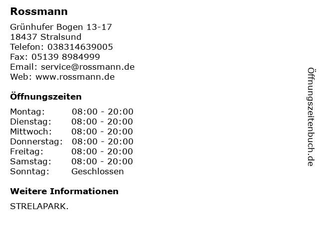 Dirk Rossmann GmbH in Stralsund: Adresse und Öffnungszeiten