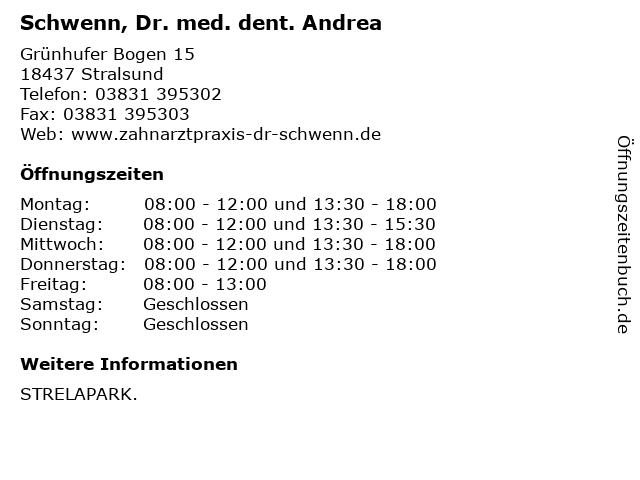 Schwenn, Dr. med. dent. Andrea in Stralsund: Adresse und Öffnungszeiten