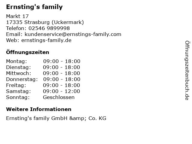 Ernsting's family in Strasburg (Uckermark): Adresse und Öffnungszeiten