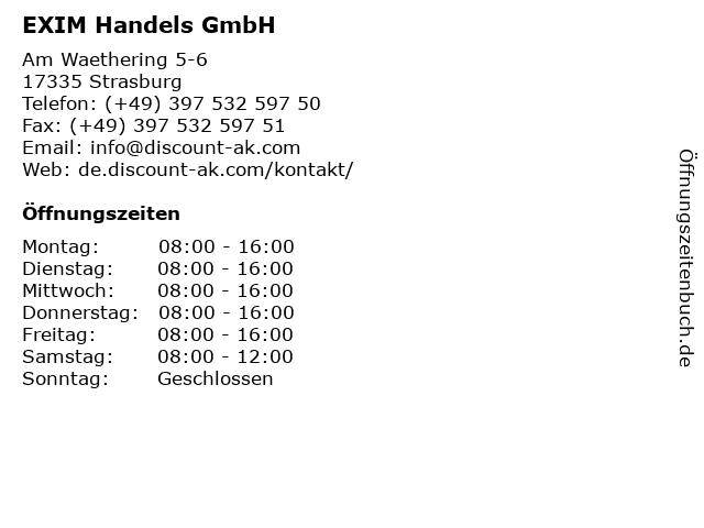 EXIM Handels GmbH in Strasburg: Adresse und Öffnungszeiten