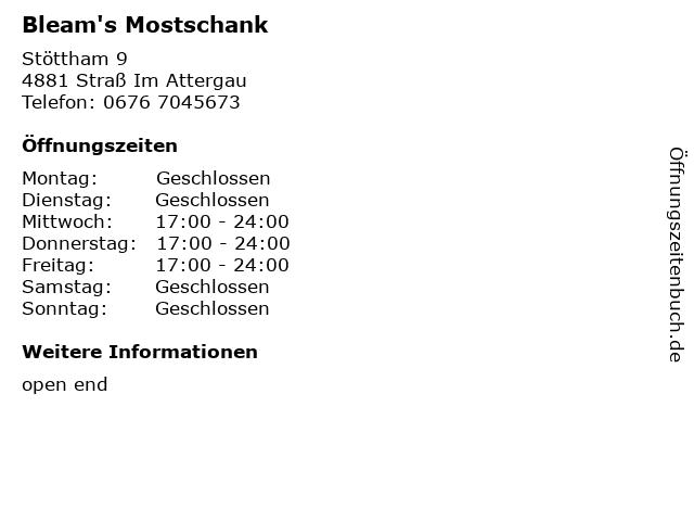 Bleam's Mostschank in Straß Im Attergau: Adresse und Öffnungszeiten