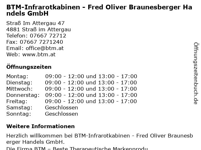 BTM-Infrarotkabinen - Fred Oliver Braunesberger Handels GmbH in Straß im Attergau: Adresse und Öffnungszeiten