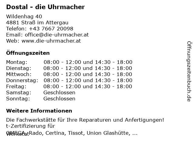 Dostal - die Uhrmacher in Straß im Attergau: Adresse und Öffnungszeiten