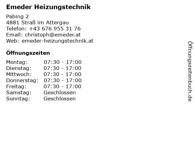 Emeder Heizungstechnik in Straß im Attergau: Adresse und Öffnungszeiten