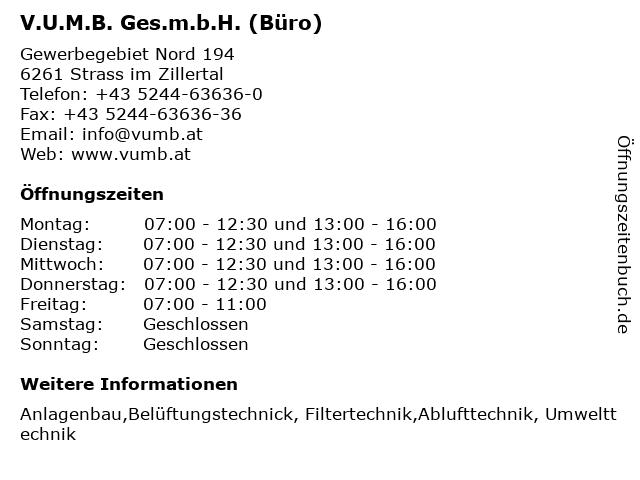 V.U.M.B. Ges.m.b.H. (Büro) in Strass im Zillertal: Adresse und Öffnungszeiten