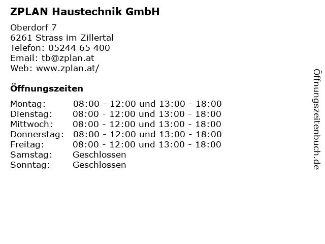 ZPLAN Haustechnik GmbH in Strass im Zillertal: Adresse und Öffnungszeiten
