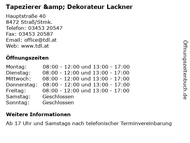Tapezierer & Dekorateur Lackner in Straß/Stmk.: Adresse und Öffnungszeiten