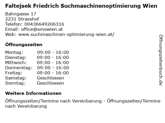 Faltejsek Friedrich Suchmaschinenoptimierung Wien in Wien: Adresse und Öffnungszeiten