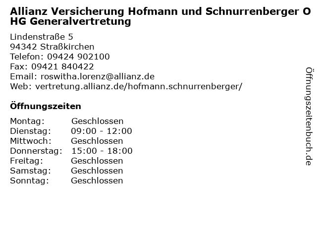 Allianz Vertretung Erhardt.Hofmann. Schnurrenberger OHG in Straßkirchen: Adresse und Öffnungszeiten