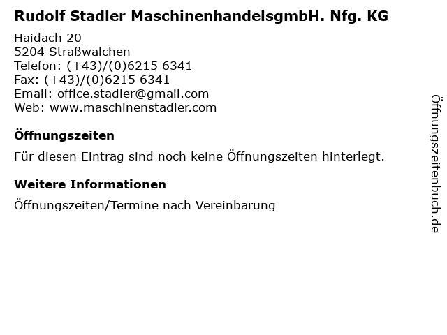 Rudolf Stadler MaschinenhandelsgmbH. Nfg. KG in Straßwalchen: Adresse und Öffnungszeiten