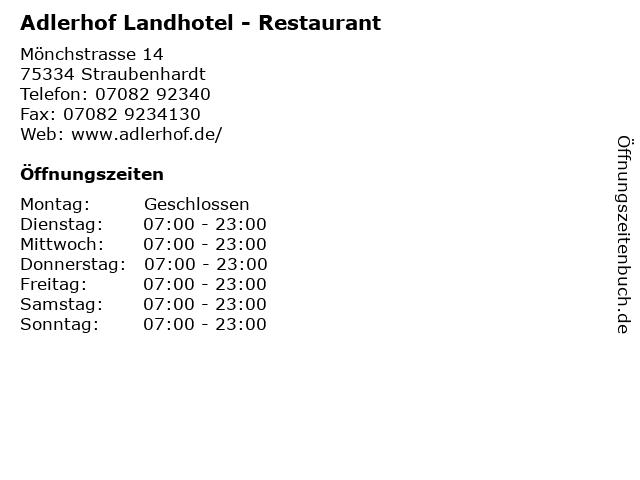 Adlerhof Landhotel - Restaurant in Straubenhardt: Adresse und Öffnungszeiten