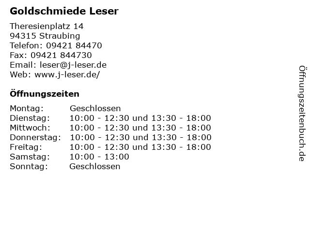 Goldschmiede Leser in Straubing: Adresse und Öffnungszeiten