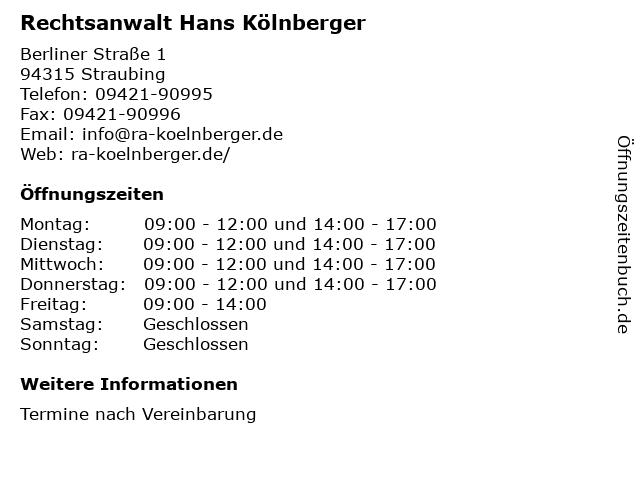 Rechtsanwalt Hans Kölnberger in Straubing: Adresse und Öffnungszeiten