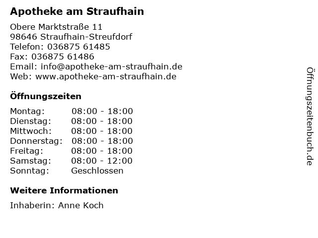 Apotheke am Straufhain Apothekerin Annette Liebermann (e.Kfr.) in Straufhain-Streufdorf: Adresse und Öffnungszeiten