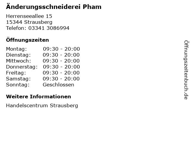 Änderungsschneiderei Pham in Strausberg: Adresse und Öffnungszeiten