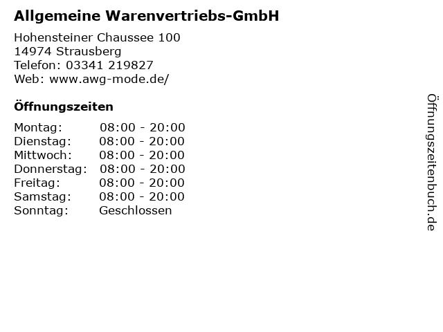 Allgemeine Warenvertriebs-GmbH in Strausberg: Adresse und Öffnungszeiten