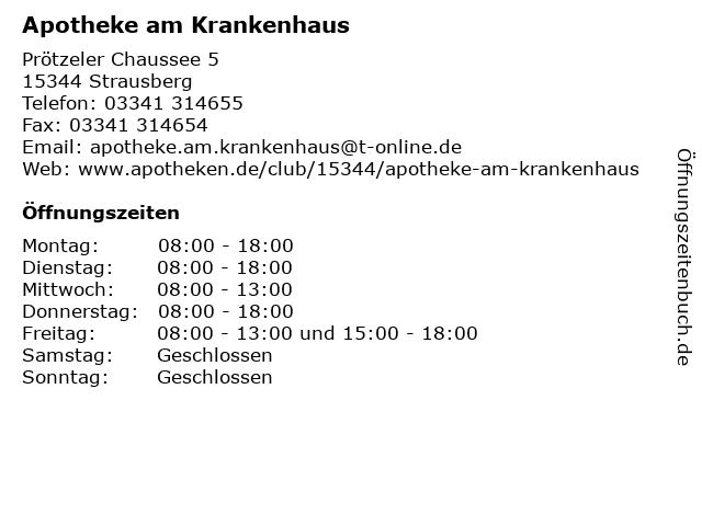 Apotheke am Krankenhaus in Strausberg: Adresse und Öffnungszeiten