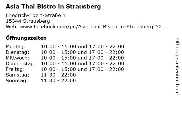 Asia Thai Bistro in Strausberg in Strausberg: Adresse und Öffnungszeiten