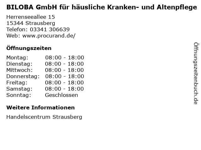 BILOBA GmbH für häusliche Kranken- und Altenpflege in Strausberg: Adresse und Öffnungszeiten