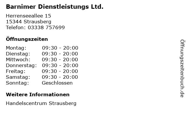 Barnimer Dienstleistungs Ltd. in Strausberg: Adresse und Öffnungszeiten