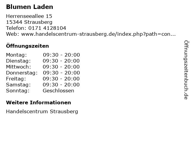 Blumen Laden in Strausberg: Adresse und Öffnungszeiten