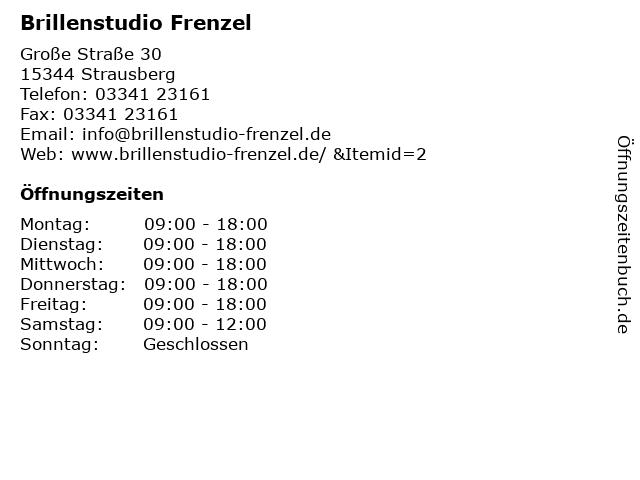 Brillenstudio Frenzel in Strausberg: Adresse und Öffnungszeiten