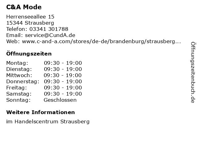 C&A Mode GmbH & Co. KG (Small Family) in Strausberg: Adresse und Öffnungszeiten