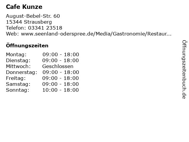 Cafe Kunze in Strausberg: Adresse und Öffnungszeiten