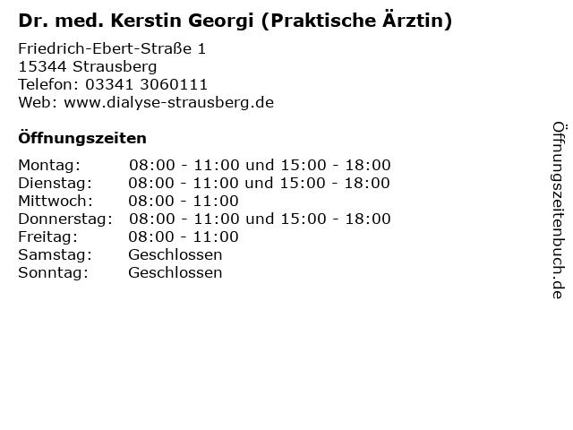 Dr. med. Kerstin Georgi (Praktische Ärztin) in Strausberg: Adresse und Öffnungszeiten