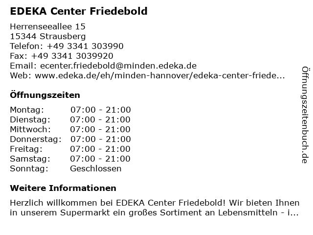 EDEKA Center Friedebold in Strausberg: Adresse und Öffnungszeiten