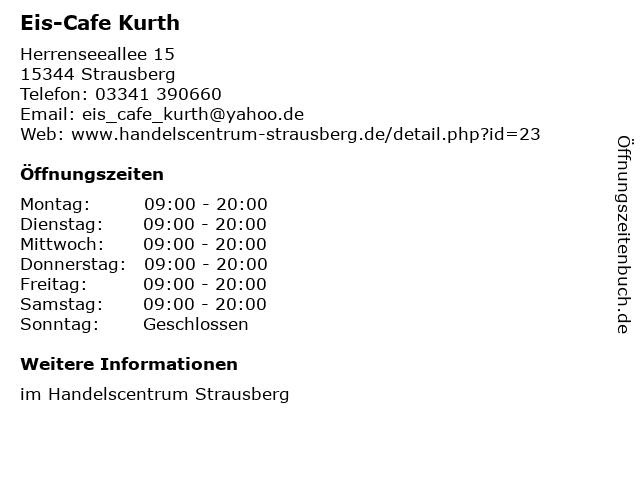 Eis-Cafe Kurth in Strausberg: Adresse und Öffnungszeiten