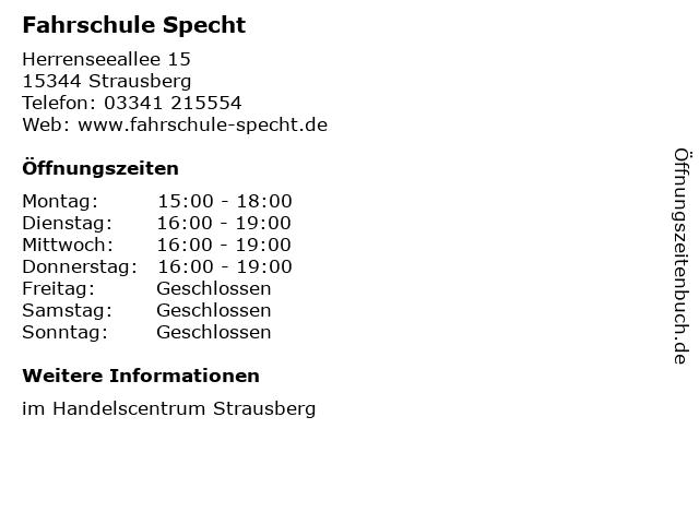 Fahrschule Specht in Strausberg: Adresse und Öffnungszeiten