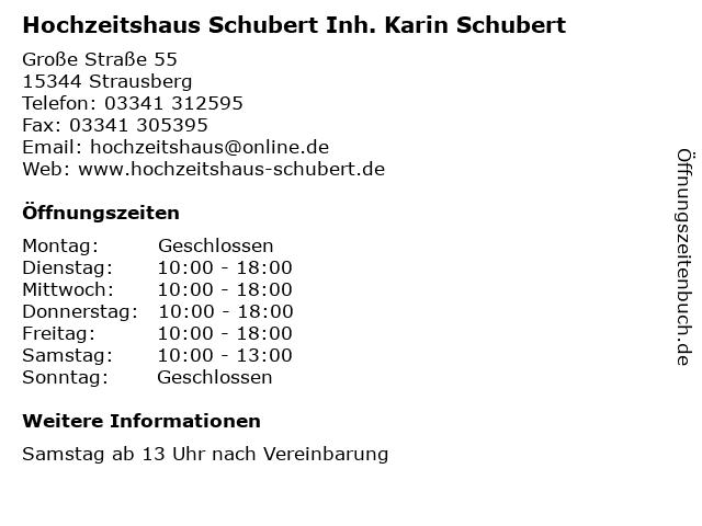 Hochzeitshaus Schubert Inh. Karin Schubert in Strausberg: Adresse und Öffnungszeiten