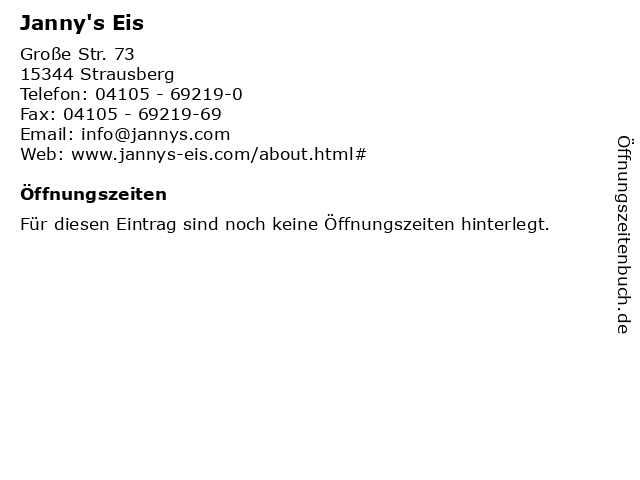 Janny's Eis in Strausberg: Adresse und Öffnungszeiten
