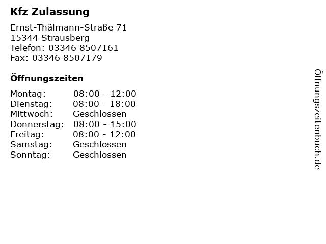 Kfz Zulassung in Strausberg: Adresse und Öffnungszeiten