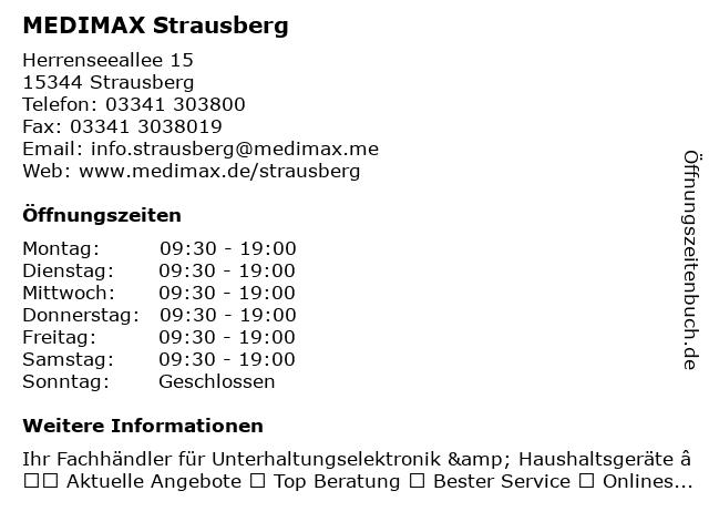 MEDIMAX Electronic Objekt Strausberg GmbH in Strausberg: Adresse und Öffnungszeiten