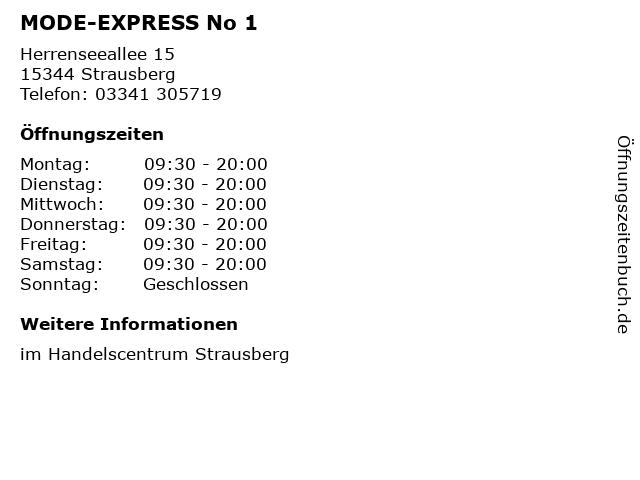 MODE-EXPRESS No 1 in Strausberg: Adresse und Öffnungszeiten