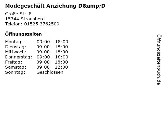 Modegeschäft Anziehung D&D in Strausberg: Adresse und Öffnungszeiten