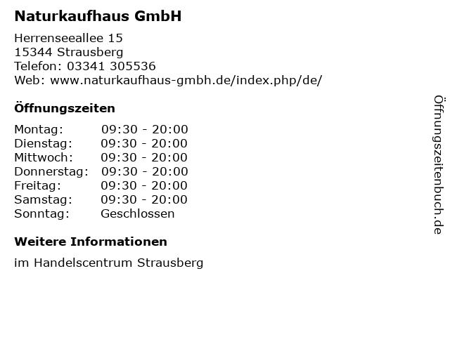 Naturkaufhaus GmbH in Strausberg: Adresse und Öffnungszeiten