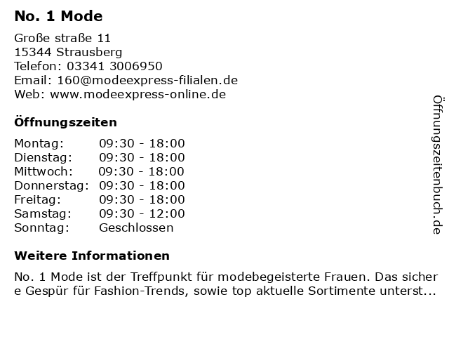 No. 1 Mode in Strausberg: Adresse und Öffnungszeiten