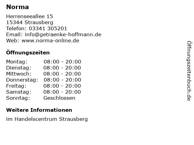 Norma Lebensmittelfilialbetrieb Stiftung & Co. KG in Strausberg: Adresse und Öffnungszeiten