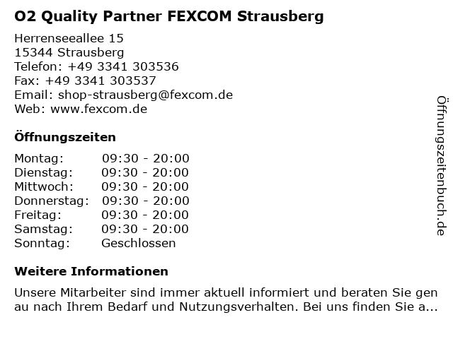 O2 Quality Partner FEXCOM Strausberg in Strausberg: Adresse und Öffnungszeiten