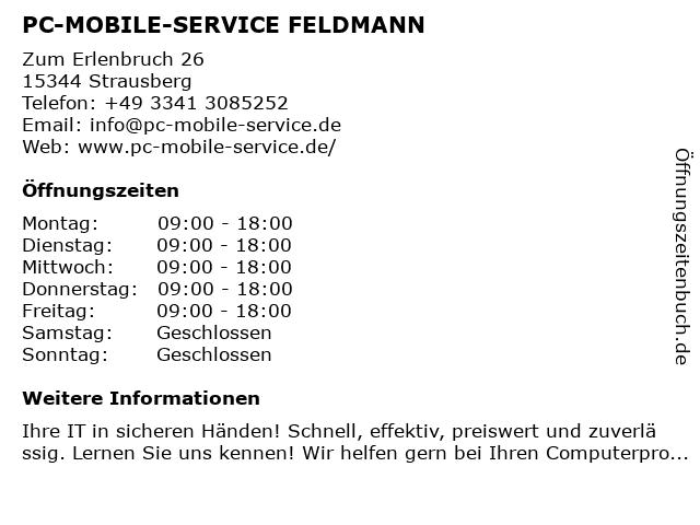PC-MOBILE-SERVICE FELDMANN in Strausberg: Adresse und Öffnungszeiten