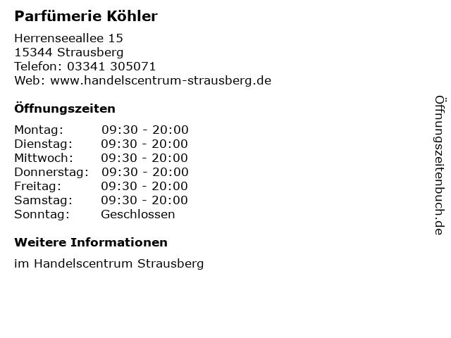 Parfümerie Köhler in Strausberg: Adresse und Öffnungszeiten