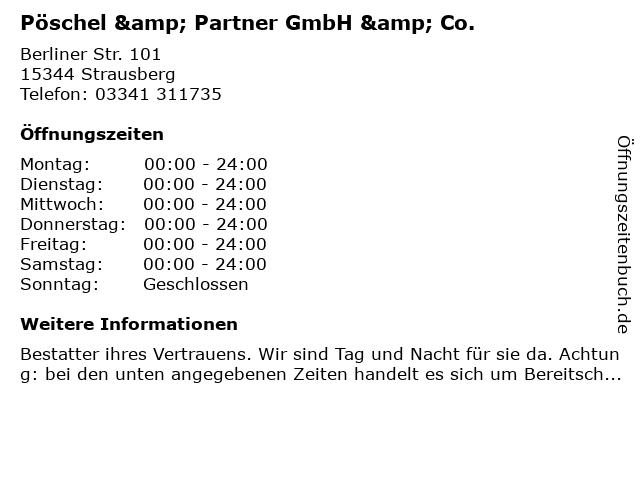 Pöschel & Partner GmbH & Co. in Strausberg: Adresse und Öffnungszeiten