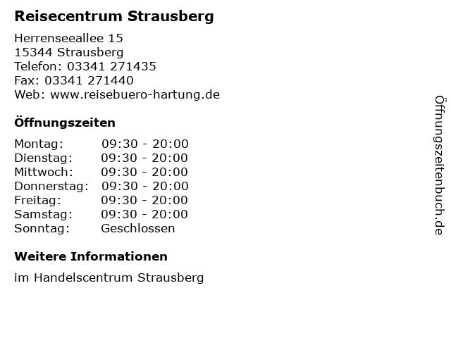 Reisecentrum Strausberg in Strausberg: Adresse und Öffnungszeiten