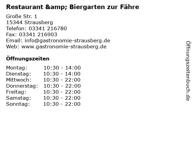 Restaurant & Biergarten zur Fähre in Strausberg: Adresse und Öffnungszeiten